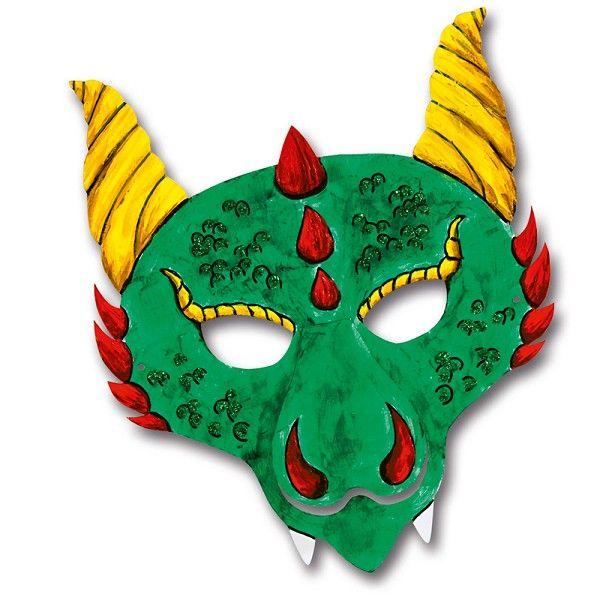 Drachenmaske | Masken-Idee: Gestalte mit Kindern individuelle Drachenmasken für den nächsten Faschingsball: http://www.trendmarkt24.de/kindermasken-drache-6er-pack.html#p