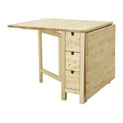 NORDEN Gateleg table - IKEA  Love how it is expandable for 2 or 4 guests. Also the drawers are genius for storing napkins, candles, etc!
