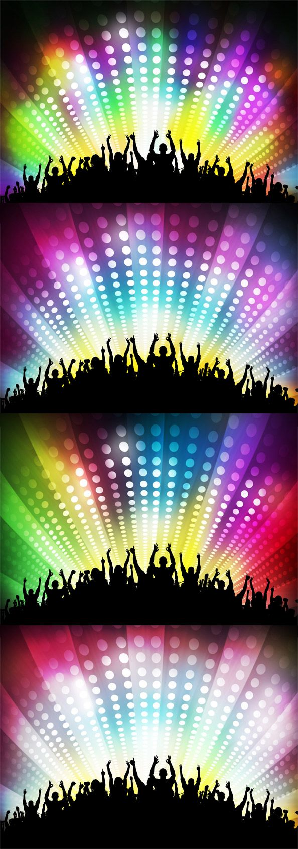 4 colorful party backgrounds presenting a crowd of happy people and shining disco effects. Great use for your cover, disco flyer, poster, collage, etc. Availabl
