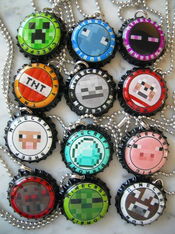 LOT OF 12 MINECRAFT BOTTLE CAP NECKLACES BIRTHDAY PARTY FAVORS... going to make them myself.