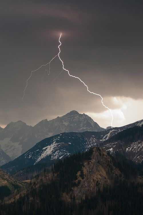 Lightning strikes the Tatras Mountains in Poland.