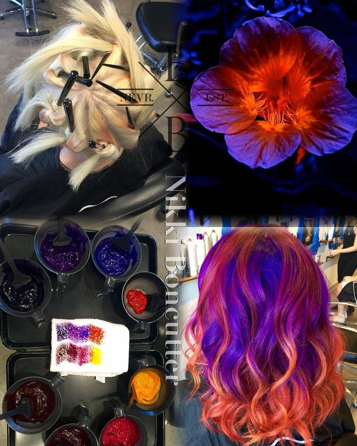 Hair by Nicole Boncutter at Benjamin Beau Salon in Austin TX  http://benjaminbeausalon.com/rainbow unicorn melt painted hair vivid Joico purple red orange ombre sunset