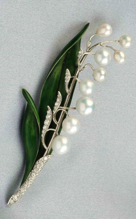 Platinum, Enamel, and Cultured Pearl Lily-of-the-Valley Brooch, Marcus & Co.