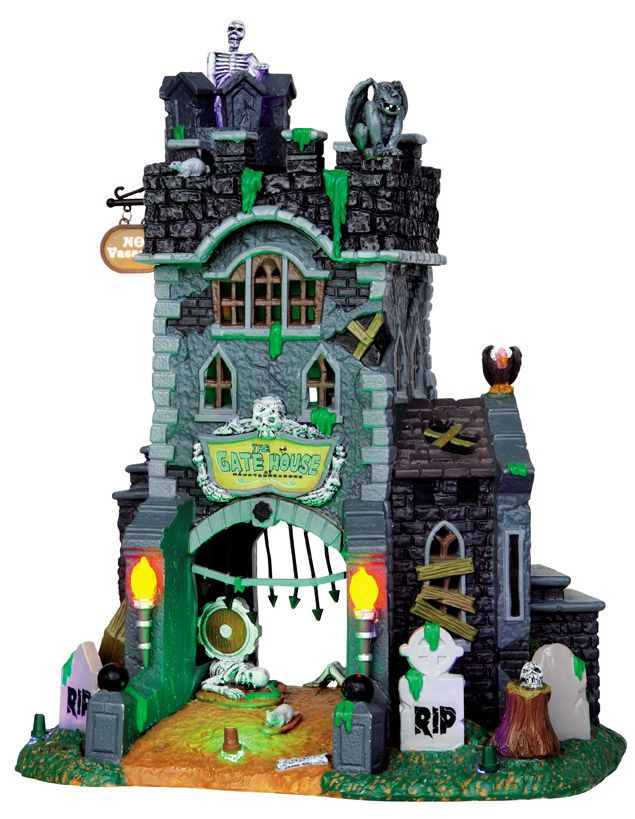 Lemax Spooky Town Halloween Exterior Lighted The Gatehouse
