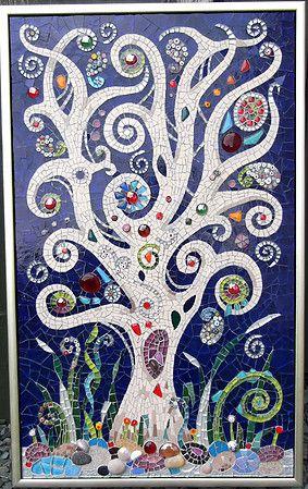 MIdnight Wish   Muni's Mosaics Glass, porcelain, gems, millefiore