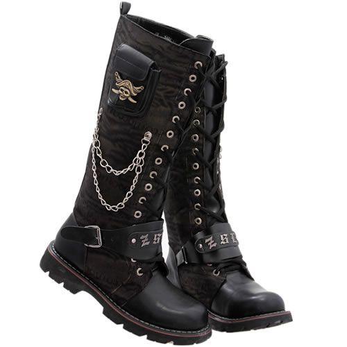 Buy Hot Black Skull Lace up Knee High Emo Punk Rock Fashion Boots Men SKU-1280400
