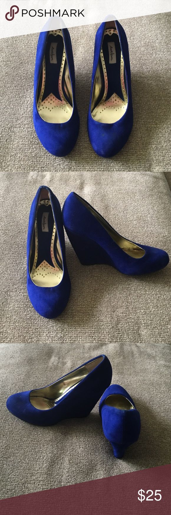 Royal Blue Suede Wedges Worn to a wedding, but ultimately are too small for my feet. I wish they fit comfortably, because they are so cute! Purchased at Francesca's. Shoes Wedges