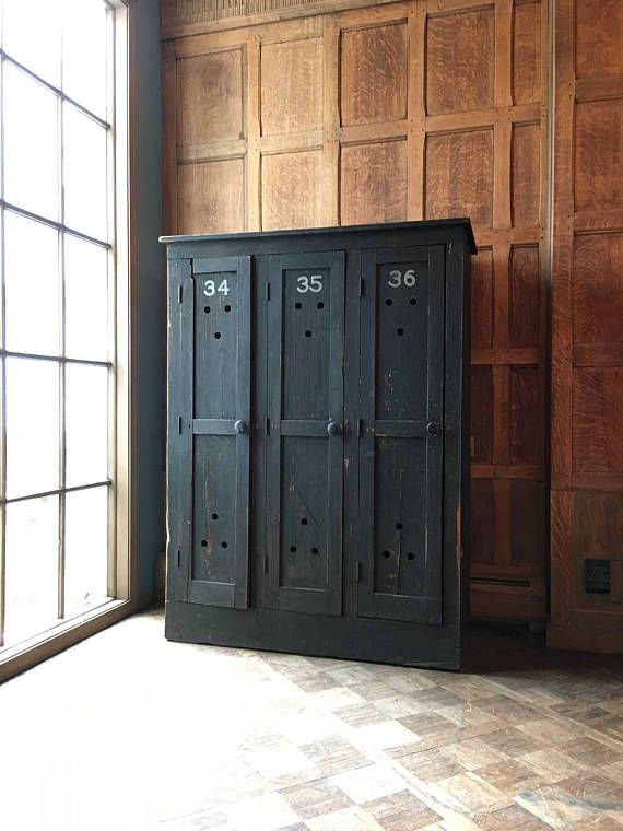 Antique Wood Lockers Set Of 3 Mudroom Entryway Organizer Laundry Room