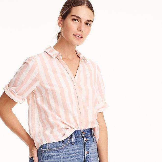 c1935e5e women's short-sleeve button-up shirt in wide stripe - women's button down  shirts