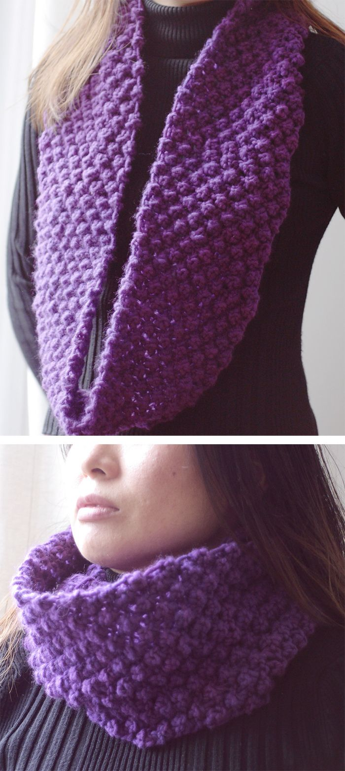 Free Knitting Pattern for Obsession Infinity Scarf - This scarf is knit with a variation of the Trinity or Blackberry stitch that uses a yarnover for one of the 3 stitch group to make it easier to knit. This can be knit as a flat scarf or a cowl. Quick knit in super bulky yarn. Designed by Nancy Ricci Pictured project byfumigyoza. Rated easy by Ravelrers.