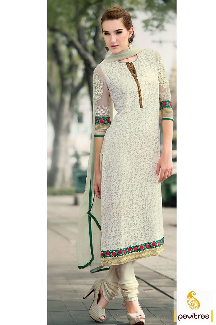 Pavitraa Off White Color Casual Salwar Kameez Rs 3858.3 #pakistanisalwarsuits #salwarsuits #onlinesalwarsuits