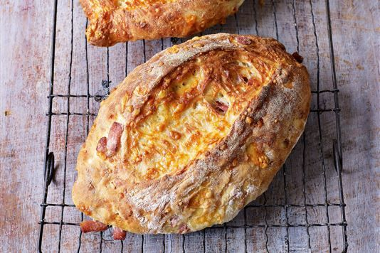 Bacon and cheddar loaves. Love the smell of bread baking.