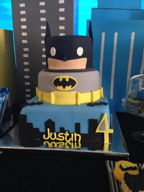 Fun cake at a Batman Birthday Party!  See more party ideas at CatchMyParty.com!  #partyideas #batman