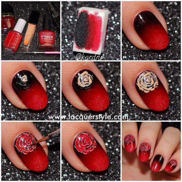 Best 25 rose nails tutorial ideas on pinterest gel nail pretty rosy red nailart via ombre prinsesfo Choice Image