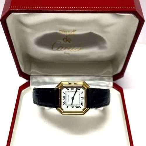 24.5mm CARTIER Ladies Watch 18K Yellow Gold w/ Black Leather Band In Box