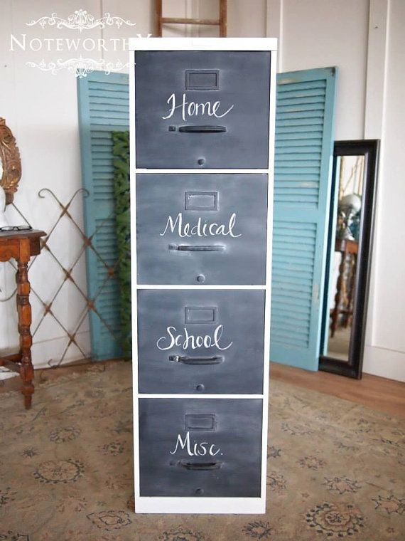 This is a vintage metal filing cabinet with 4 drawers. Great working condition. Just refinished with chalk front drawers, white high gloss body. 15x28x52. DELIVERY is available in the DFW area. Nationwide shipping is available at buyers expense. NOTEWORTHY HOME is proud to be the best in professional refinishing and painting services of YOUR furnishings, as well as full upholstery services. We have pick up and delivery services for your convenience. Find items available for purchase and…