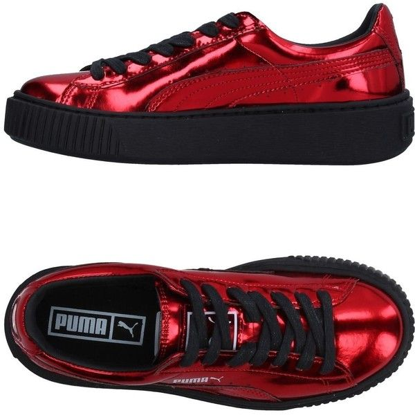 Puma Sneakers ($89) ❤ liked on Polyvore featuring shoes, sneakers, red, red trainers, red wedge shoes, logo shoes, wedge heel shoes and round cap