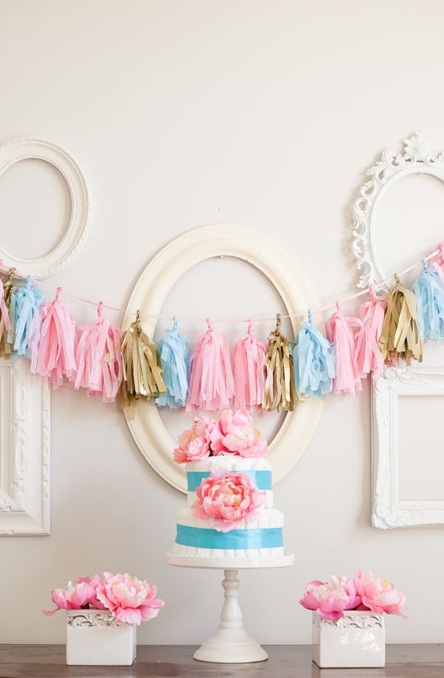 DIY Tissue Tassel Garland: Tassel Garland, Diaper Cakes, Garlands, Party Ideas, Baby Shower