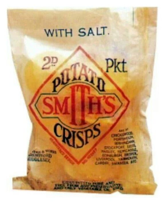 Smith's Crisps in greaseproof paper packet with separate blue paper twist…
