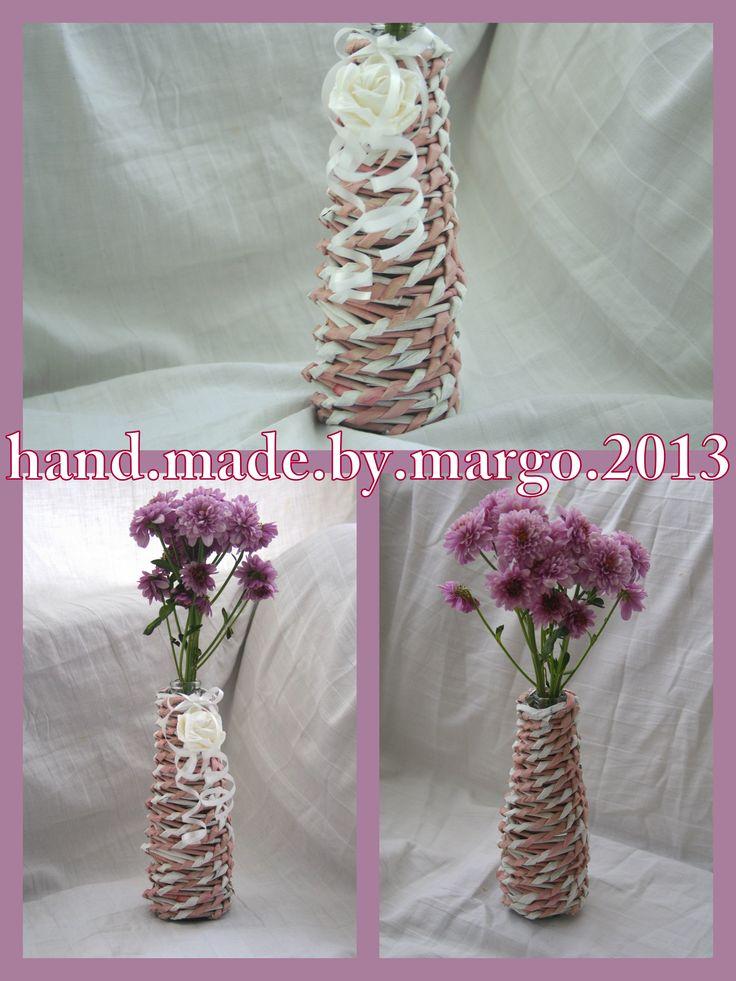 decorative vase white pink