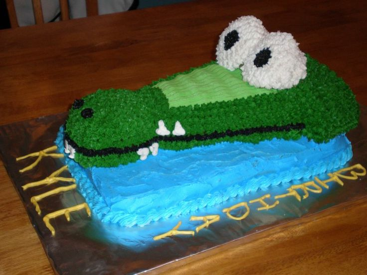 Gator cake - I used a party hat cake pan and turned it upside down for a gator head, then used cupcakes for the eyes