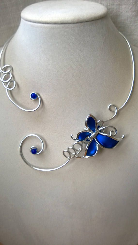 Butterfly necklace wedding necklace  blue wedding necklace