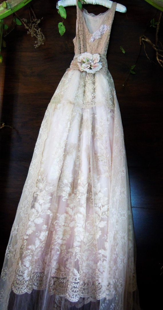 Blush lace dress tulle embroidery boho wedding by vintageopulence