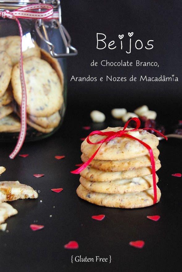 Beijos de Chocolate Branco, Arandos e Nozes de Macadâmia