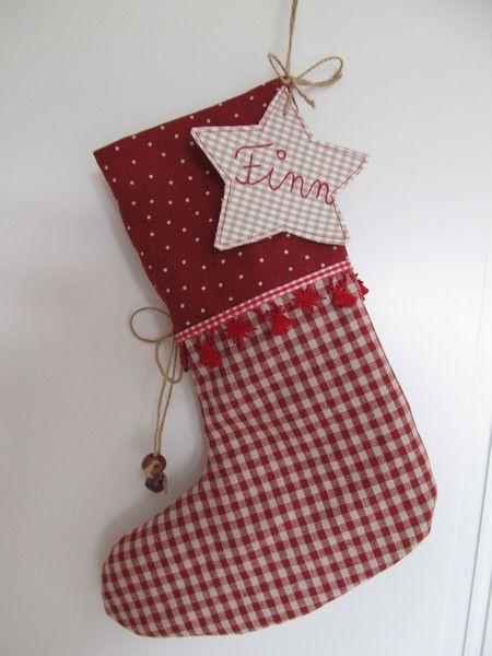 Nikolausstiefel - Großer Nikolausstiefel zum Befüllen, Wunschnamen - ein Designerstück von mit-Stich-und-Faden bei DaWanda