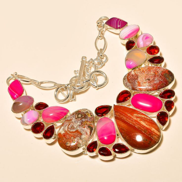 "Maxican Laguna Lace Agate, Garnet 925 Sterling Silver Jewelry Necklace 18"" #Handmade #Choker"