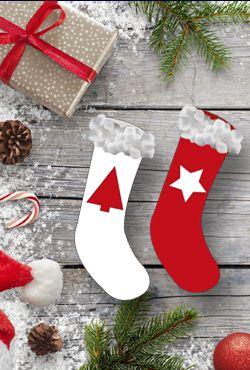 Créez des chaussettes de Noël pour mettre les petits cadeaux de votre bébé.