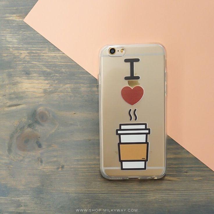 Clear TPU Case Cover - I Love Coffee