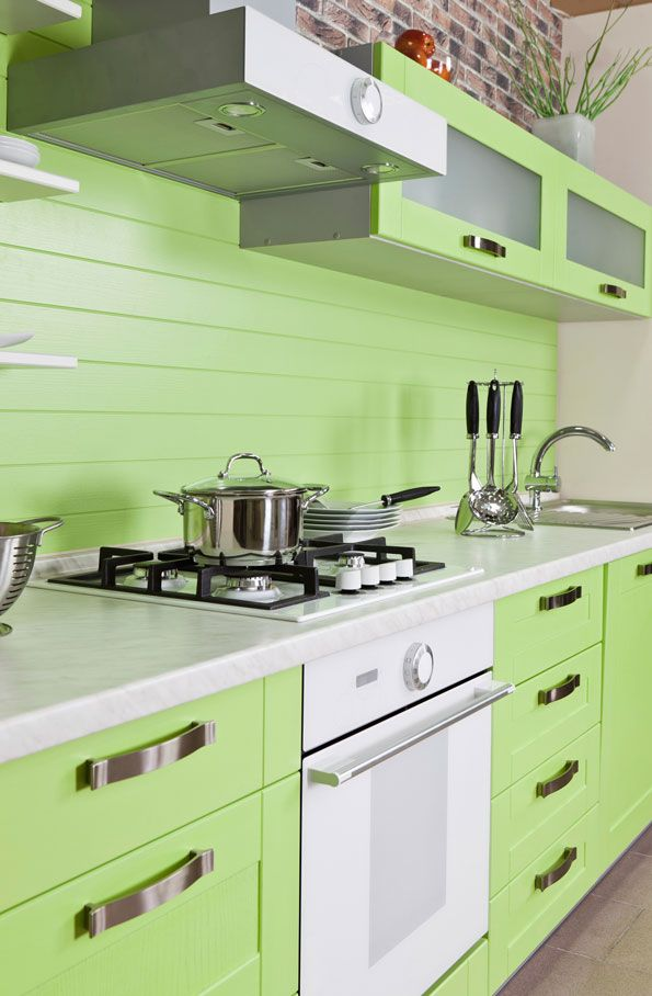 In living areas and even kitchens, the green of mint ice cream can look wonderful contrasted with natural materials, wood and stone in particular.