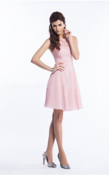 sku:drfa307286; Silhouette:A-line; Hemline:Knee-length; Fabric:Chiffon; Back Details:Zipper; Neckline:Jewel; Waist:Empire; Colour:Pink; Sleeve Length:Sleeveless;