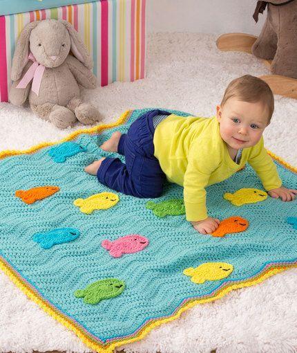 School of Fish Blanket Free Crochet Pattern from Red Heart Yarns