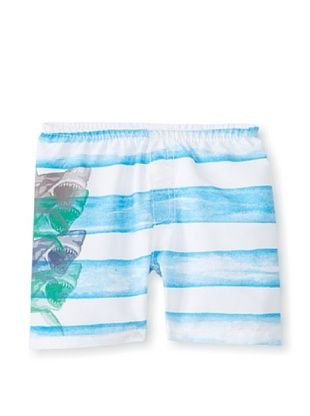 32% OFF Charlie Rocket Boy's Stripe Shark Swim Short (Turquoise)