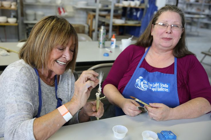 Potters Margaret Bash and Olivia Romero making bamboo brushes during the Gamble's workshop at the co-op. http://www.theclaylady.com