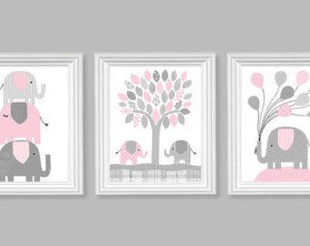 Elefante vivero pared arte habitación por SweetPeaNurseryArt