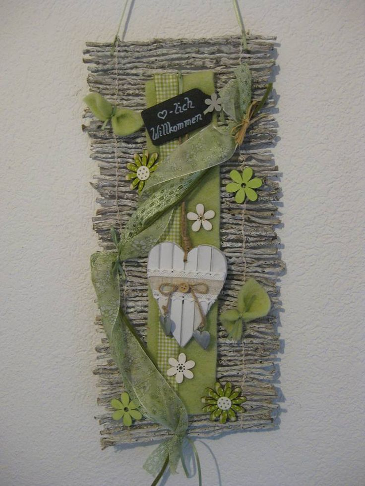 Türkranz Kranz Frühling 45 cm Shabby Willkommen Rebenmatte Türdeko grün grau in Möbel & Wohnen, Dekoration, Außen- & Türdekoration | eBay