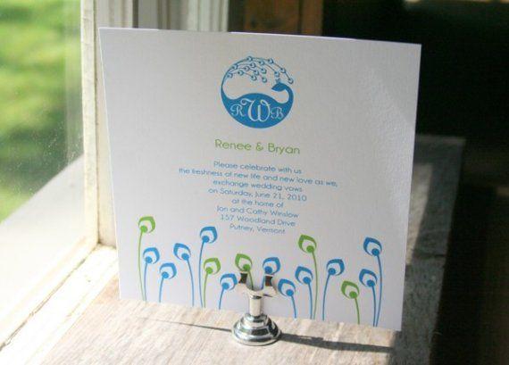 Hochzeit Einladung Pfau Monogramm  Kaution für den von TLCPaperie