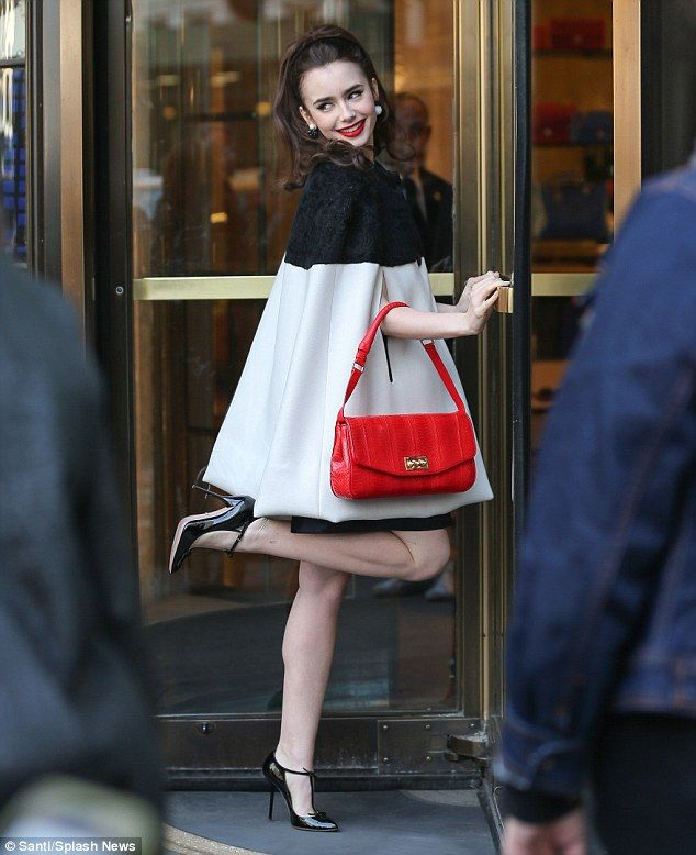 Kooky: Lily Collins shows off her movie star looks as she poses for a new sixties style photoshoot in New York on Thursday