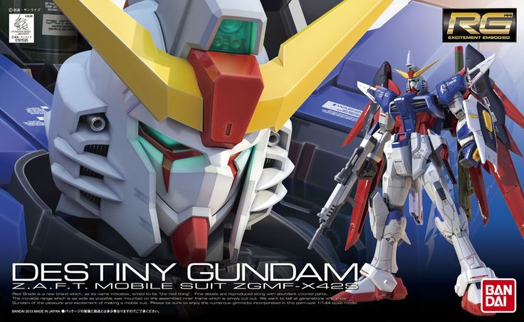 RG Destiny Gundam model kit by Bandai from Mobile Suit Gundam Seed.  https://www.theanimetropolis.com/product/rg-1144-zgmf-x42s-destiny-gundam-model-kit/