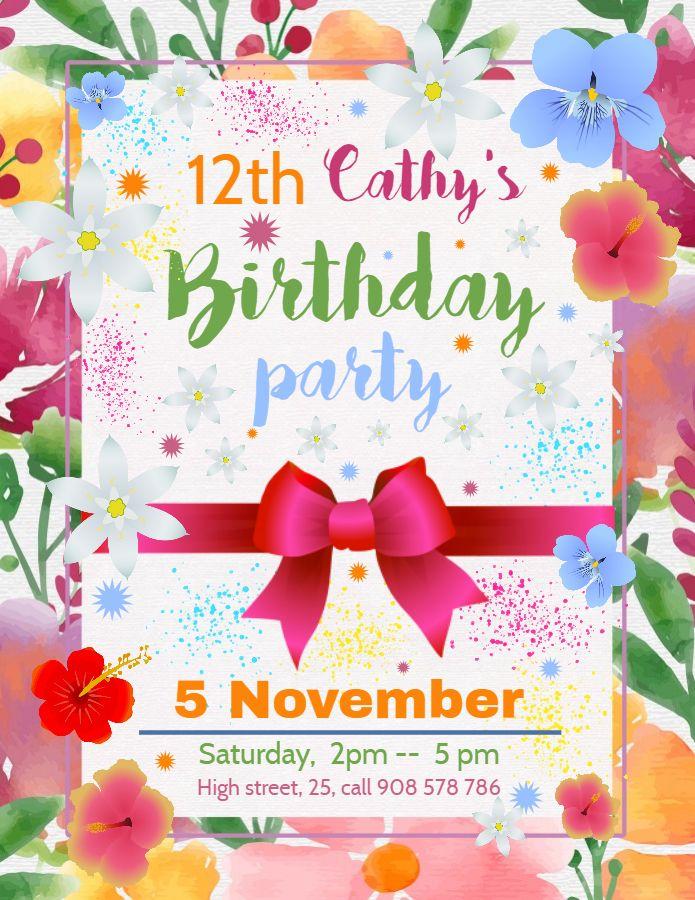 12th Birthday Invitation Template Colorful Birthday Invitation Templates Party Invite Template Birthday Party Invitation Templates