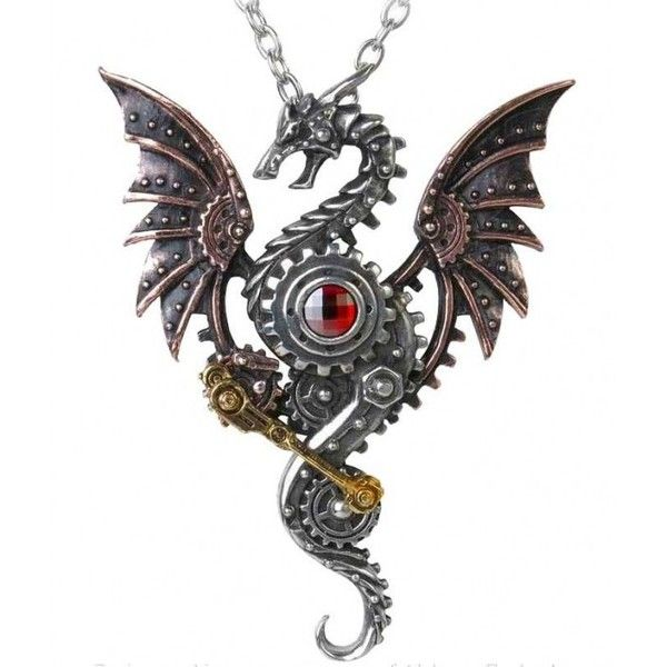 Blast Furnace Behemoth Steampunk Dragon Necklace (355 BRL) ❤ liked on Polyvore featuring jewelry, necklaces, steampunk jewelry, steam punk necklace, steampunk necklace, steampunk jewellery and steam punk jewelry