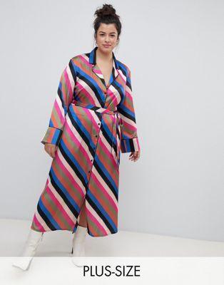 18cef8ed196b3 Neon Rose Plus midaxi shirt dress in luxe stripe
