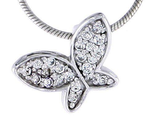 Sterling Silver Jeweled Butterfly Pendant, w/ Cubic Zirconia stones, 3/8 inch (10 mm) Sabrina Silver. $15.52
