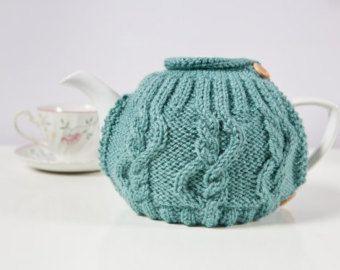 Teapot cosy Tea pot warmers Yellow-green by RakushaKnittingShop