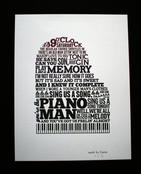 Piano Man letterpress typographic broadside 11x14 by TopiaryPress