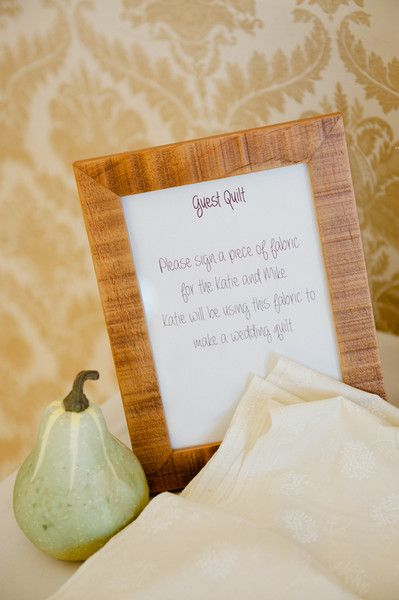 A Guest quilt! Have guests sign with wishes a piece of fabric for the wedding couple that will be used to make them a wedding quilt!  on WeddingWire #allweddingsallowed  wedding and honeymoon tip with PJ