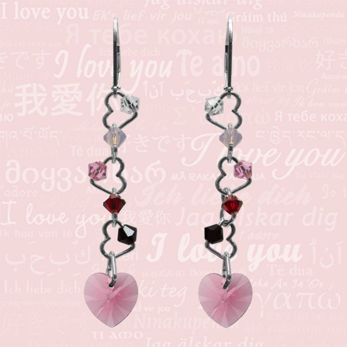 Crystal Passion Pink Silver Earrings